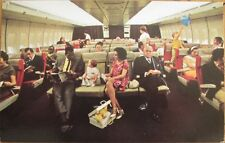 1970s Chrome Airplane Postcard: 'PanAm Boeing 747 Interior'