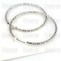 GIFT UK 60mm PATTERN sparkly FASHION HOOPS SILVER TONE seamless hoop EARRINGS