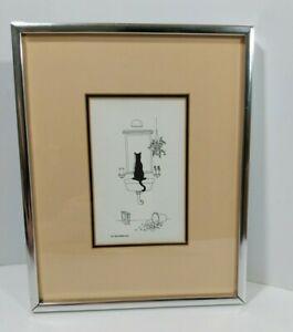 "Framed MJ Blakebrough Cat Print Black Kitty Playing In Bathroom 10.5"" x 8.5"""