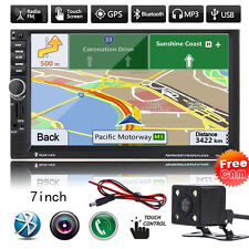 7'' Double 2Din Car Bluetooth GPS Navigation Stereo Radio FM/MP3/USB/AUX +Camera