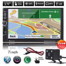 7'' Double 2Din Car Bluetooth GPS Navigation Stereo Radio FM/MP3/USB/AUX +Camera