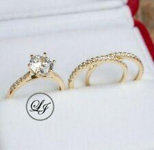 9K gold 3pcs bridal set: simulated diamond engagement ring, wedding ring set