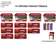4 x Winston Volumen Tabak 210g, 2000 Extra-Hülsen, 1 Etui,  3 Feuerzeuge