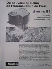 5/1973 PUB VINTEN TYPE 750 70MM PANORAMIC RECONNAISSANCE CAMERA FRENCH AD