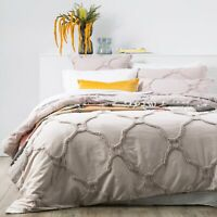 Renee Taylor Moroccan 100% Cotton Chenille Tufted Quilt Cover Set-Dove