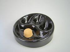 Pfeifenaschenbecher Keramik Schwarz glänzend mit 3 Ablagen und Kork