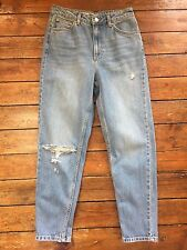 Topshop Moto  Mom Jeans Ripped Blue  Size 10 W28 To Fit L30 119#