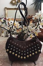 New  B. Makowsky Brown Pebbled Leather Studded Fringe Cross-body Bag Purse