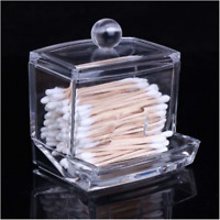 Clear Acrylic Cotton Swab Q-tip Storage Holder Box Cosmetic Makeup Organizer