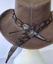 Cowboy Chapeau Crocodile Dundee Australian TRAPPEURS cuir country western modèle NEUF