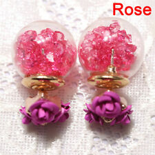 1pair Women Double Sides Rose Flower Crystal Ball Ear Stud Earrings Jewelry G4 Blue