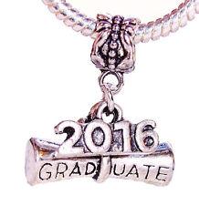 2016 Graduate Diploma Graduation Gift Dangle Bead fits European Charm Bracelets