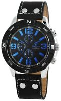 TIME TECH Herrenuhr Schwarz Blau Chrono-Look Leder Armbanduhr X-227421100018