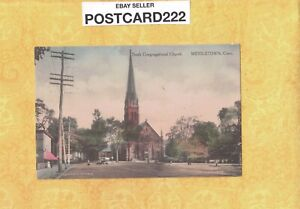 CT Middletown 1916 antique postcard SOUTH Congregational church RALLY DAY OCT 8
