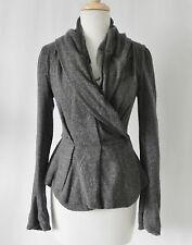 All Saints Spitalfields Jacket Gray Ruffle Hem Wool Blend Size 6(US XS/S)