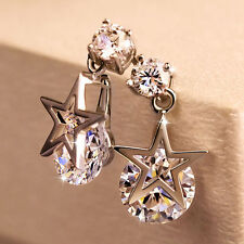 Women Star Earring Eardrop 925 Silver Plating Crystal Zircon Dangler Party Gift