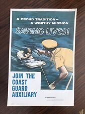Coast Guard Uscg Auxiliary Vintage Boat Boating Ocean Safety Poster Lifesaving