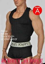 1/6 Male Tanktop Underwear BLACK For Hot Toys Phicen Figure ☆SHIP FROM USA☆