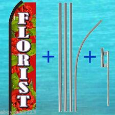 FLORIST Red SWOOPER FLAG + 15' TALL POLE + MOUNT KIT Flutter Feather Banner Sign