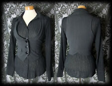 Gothic Black Pinstripe Fitted POSSESSION Waistcoat Corset Jacket 10 12 Victorian