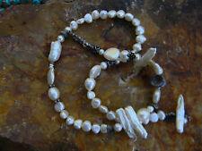 "Designer Baroque, Coin & Biwa Pearls Sterling Silver Bead Necklace 19.5"""