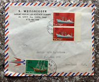 1960 HAIFA ISRAEL COVER TO ROSELAND NEW JERSEY, 1958 SHIP STAMPS #139-140