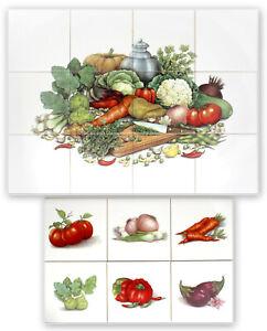 Küchenfliesen im Set 15x15 mit verschiedenem Gemüse, Kürbis, Dekore, Küchenmotiv