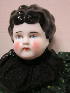 """Antique 17"""" Germany low brow china head in nice outfit"""