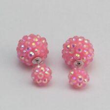 NEW Beautiful Glittery Iridescent Shamballa Double Sided Earrings, UK Seller