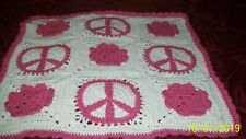 "34""x34"" peace sign and flower hart in pink and off white lap baby new handmade"