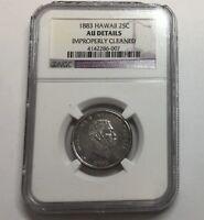 1883 25C Hawaii Quarter NGC AU Details #