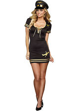"DREAMGIRL ""SERVICE WITH A SMILE"" PILOT ADULT HALLOWEEN COSTUME SIZE SMALL"