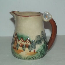 """Vintage 4 1/2"""" Tall Pitcher With Cottage House And Tree Design Made In Japan"""
