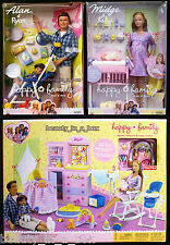 "Alan & Ryan Pregnant Midge Barbie Doll Baby Happy Family Nursery Playset"" G4"