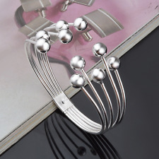 Fashion Women 925 Silver Plated Beads Bangle Cuff Open Bracelet Jewelry Gift New