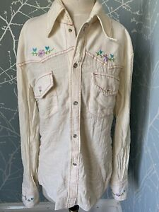 Vintage Embroidered Cowboy Shirt Ladies Ref Dg7