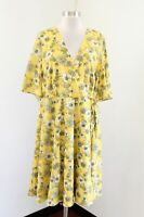 Torrid Cute Yellow Floral Print Faux Wrap V-Neck Casual Dress Size 16
