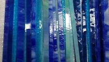 BLUE Mixed STRIPS Scrap Glass ONE Pound for Mosaic work Art Glass Borders