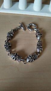 "74g heavy 925 solid Sterling Silver Mens Biker skull link 9"" Bracelet"