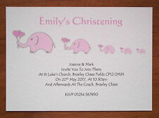 50 PERSONALISED CHRISTENING BAPTISM NAMING INVITATIONS ELEPHANTS PINK OR BLUE