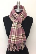 New 100% CASHMERE SCARF SCOTLAND PLAID Mauve Ivory brown berry Warm Wool WRAP