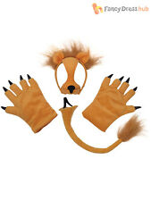 Childrens Lion Mask Tail & Paws Set - Fancy Animal Dress Dressing up Wolf