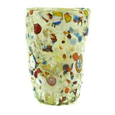 Murano Glass Drinking Artisan Glass Tumbler Green Multi Hand Made Millefiori