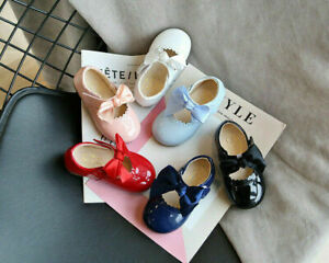 KIDS BABY INFANTS GIRLS RIBBON BOW SPANISH WEDDING PARTY PATENT TOODLER SHOES