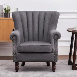 Linen Fabric Sofa Scallop Back Rivet Chair Armchair Cushioned Sofa Seat Bedroom