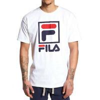 FILA Men's T-Shirt Stacked Logos Retro Sporty Style Crewneck Cotton WHITE