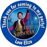 PERSONALISED GLOSSY GREATEST SHOWMAN  BIRTHDAY  PARTY STICKERS SWEET CONE LABELS
