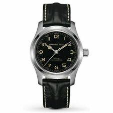 Hamilton Khaki Field Black Men Watch with Black Leather Band - H70605731
