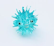 Art Glass Blue Puffer Fish Figurine Collection Aquarium Miniature Hand Blown