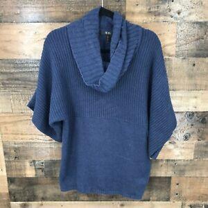 BCBG Paris Women's Navy Turtleneck Boxy Short Sleeved Chunky Knit Sweater Size L